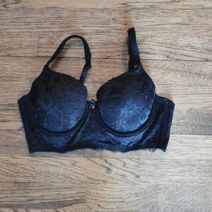 Victoria's Secret Black Lace Lined Demi Bra 36C